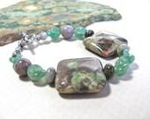 Green bracelet, Ocean Jasper with Agate,  gemstone, beaded bracelet 324