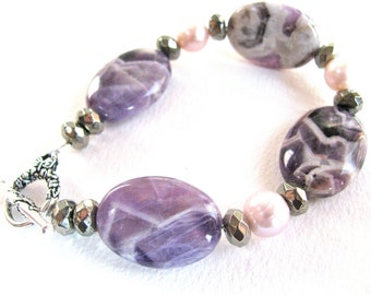 Amethyst with FWP and Pyrite, beaded bracelet, gemstones 345