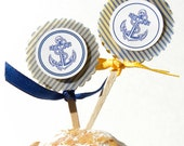 24 Nautical Anchor Theme Cupcake Toppers Party Favors