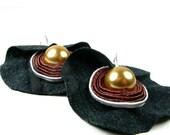 Fantsy soutache earrings made with Swarovski Elements. cappucino