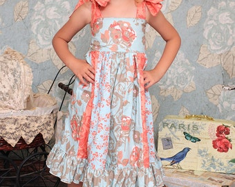 Phoebe's Stripwork Dress PDF Pattern sizes 6-12 months to size 8 girls