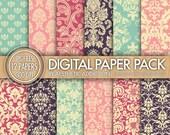 Damask Digital Paper Pack // Blue Pink Purple Magenta // Damask and Floral Patterns // Commercial Use // 12451