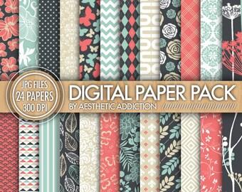 24 Pack Digital Paper - Gray Blue Pink White - Damask Floral Geometric - 300 DPI - JPG Format - 24020