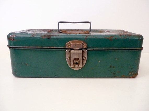 Vintage Metal Box Green with Tray Union Steel Utility Box Rustic Industrial Storage