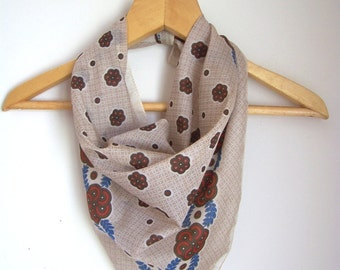 Vintage Scarf in cream brown and blue with abstract floral design