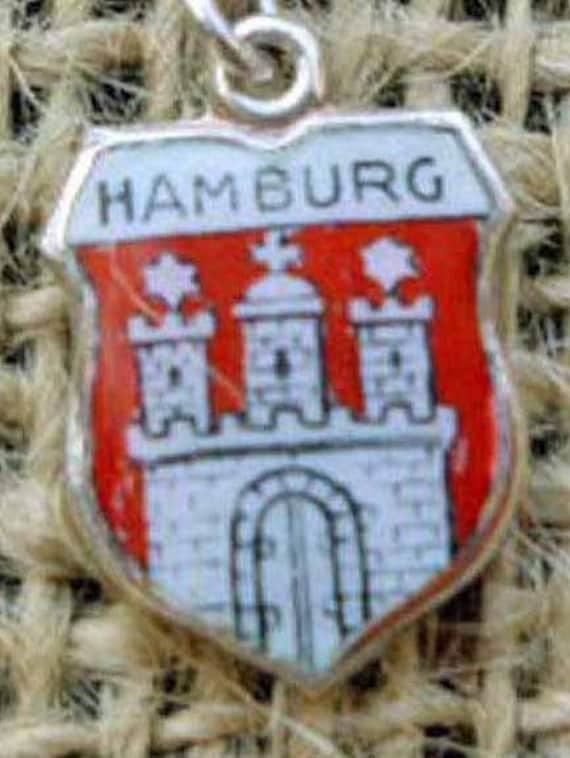 Silver Hamburg, Germany Shield Charm Vintage Enamel