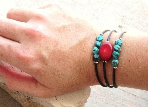 Turquoise Bracelet. Coral Bracelet. Set of Three Mini Cuff Bracelets. Turquoise Jewelry. Coral Jewelry