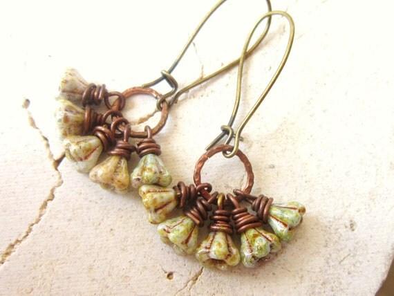 Floral Czech Luster Glass Earrings. Hammered Copper Earrings. Wire Wrapped Dangle Earrings. Cluster Earrings