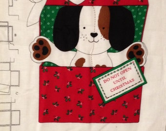 Vintage Christmas Puppy Fabric Panel - out of print