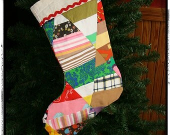 Christmas Stocking from Vintage Quilt top