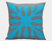Turquoise Pillow - Decorative Hawaiian Pillow Cover - Neon Blue and Grey, 18x18 inches, Aloha, Modern Contemporary Decor, Made To Order