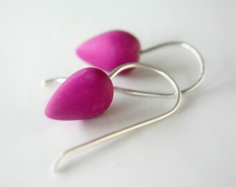 Purple  drop polymer clay earrings, minimal earrings, modern jewelry, Sterling  silver earwires