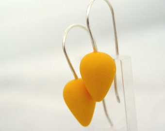 Yellow modern tear drop polymer clay earrings, sterling silver earwires, modern jewelry, small earrings