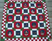 Holiday Quilt // Couch Throw or Table Covering 42 x 42 Santa scenes in Christmas colors