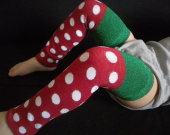 Baby Legwarmers Red and Green w/Dots Christmas/Holiday