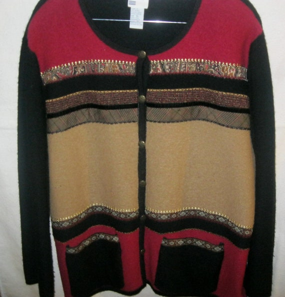 Vintage Wool Cardigan Sweater by Koret size XL with Front Pockets Only 8 USD