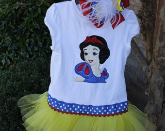 Snow White  inspired Tutu Shirt with Matching Bow