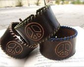Peace Sign Leather Cuff Bracelet - UNISEX - ADJUSTABLE with hand sewn edges you choose the color