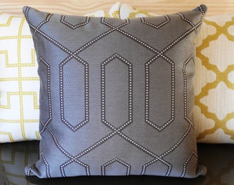 Designer pillow cover, Dwell Studio dotted trellis, grey and brown decorative pillow