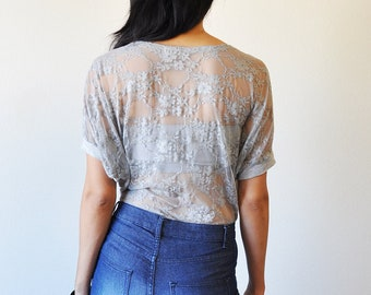 Vegan Clothing : Grey laced back top ( Size M )
