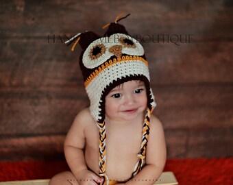Owl Hat Baby Boy Beanie Crochet  Photo Prop Photography