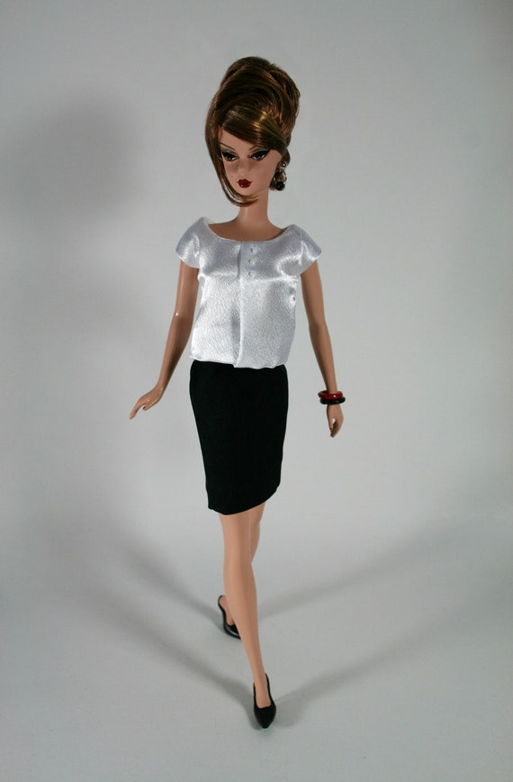 White Blouse & Black Skirt for Barbie