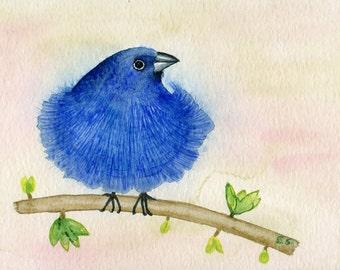 Bird art Original watercolor painting cute puffy blue bird Hand painted art card Spring decor