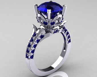 Classic French 10K White Gold 3.0 Carat Blue Sapphire Solitaire Wedding Ring R401-10KWGBS