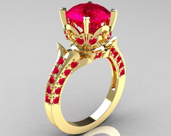 Classic French 14K Yellow Gold 3.0 Carat Ruby Solitaire Wedding Ring R401-14KYGR