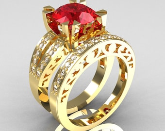 Modern Vintage 14K Yellow Gold 3.0 Carat Ruby Diamond Solitaire Ring and Wedding Band Bridal Set R102S-14KYGDR