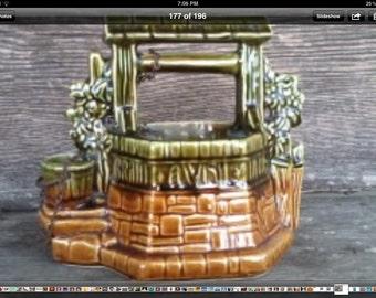 Mid Century McCoy Wishing Well Planter on SALE - Vintage Art Pottery Plant Vase Urn, Window Garden Herb Garden, Retro Gardening - SALE Item