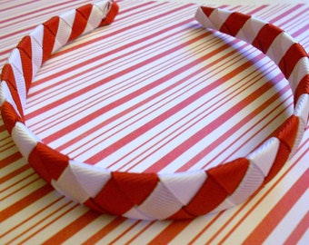 Candy Cane Red and white Christmas woven headband