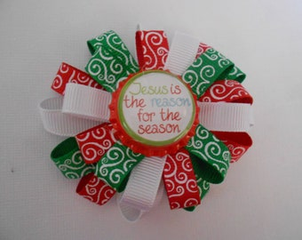 Jesus is the reason for the season Christmas loopy flower hair bow