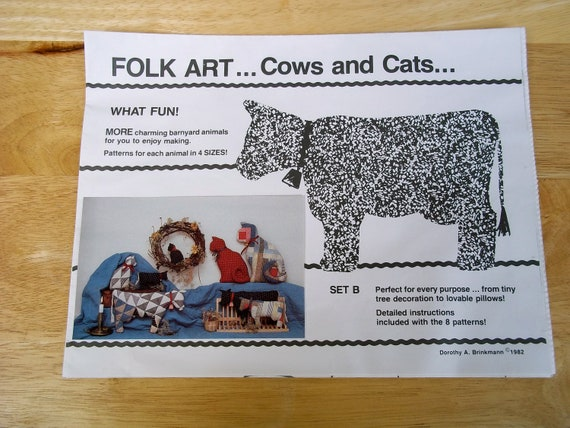 1982 Cow and Cats Pattern