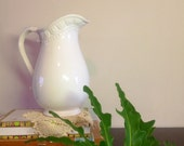 Vintage White Ironstone Large Pitcher- Neiman Marcus - Made In Italy- Farmhouse - Cottage Chic