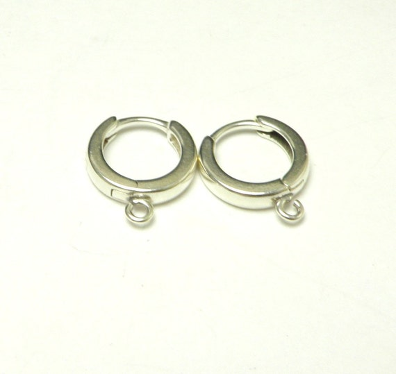 Sterling silver ear hooks lever -backs 1 pair - round 12mm