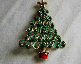 Vintage Openwork Green Christmas Tree Brooch Pin