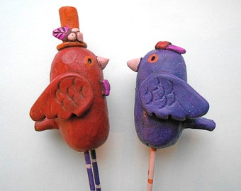 Love Birds Wedding Cake Topper in Eggplant Cranberry and Pumpkin Orange for your Rustic Fall Wedding