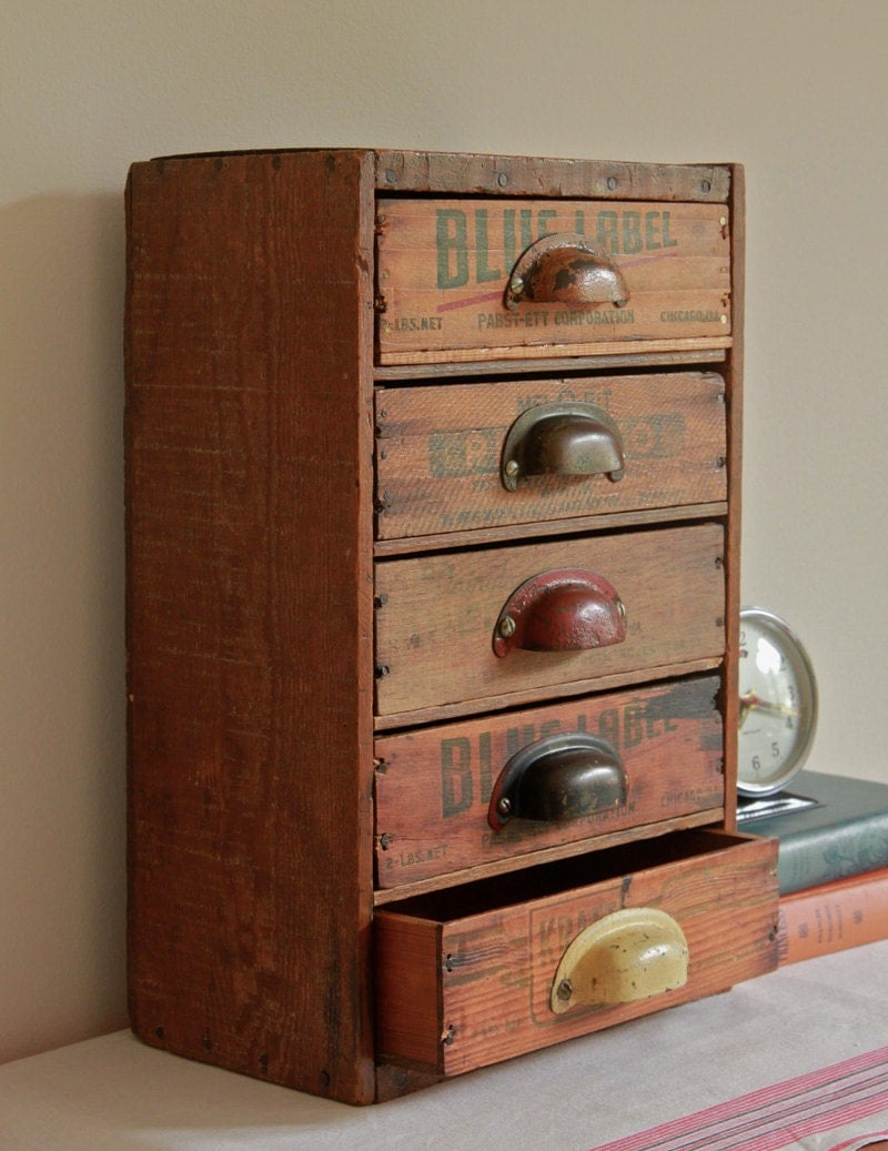 multi drawer desk organizer from repurposed vintage cheese