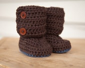 Crochet Chocolate Brown and Blue Boots, Baby Boy, Newborn thru 12months, MADE TO ORDER, Booties