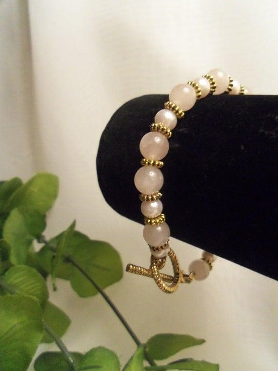 Sale - Elegant, Large Size Pink Rose Quartz, Pearl and Goldtone Bracelet- Birthday Gift for Her. Prom Bracelet. Wedding Jewelry