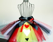 Queen of Hearts Tutu. Red Black White Yellow. Hearts. Ribbon. Halloween. Costume. Alice in Wonderland. Photo Prop. Baby 12-18 Months