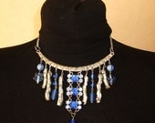 classy Choker necklace with blue crystal and glass beads victorian style
