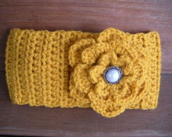 Women's Headband Crochet Headband Winter Fashion Accessories Women Earwramer in Gold with Crochet Flower - Choose color