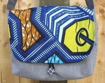 Blue Yellow Orange African Wax print childrens messenger bag. 1 inside pocket and button & elastic loop closure