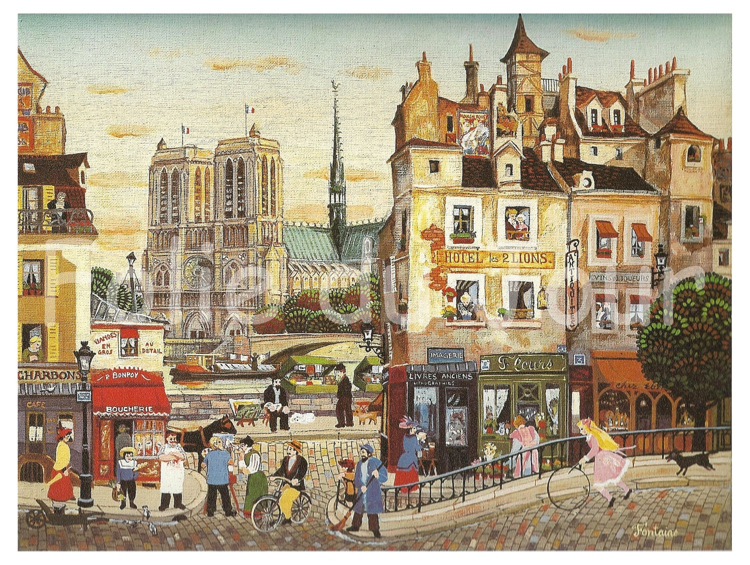 Painting of an ideal paris and notre dame during the belle for Ideal paris