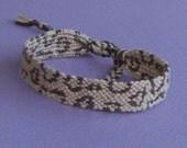 Leopard print friendship bracelet - beige, brown, tan