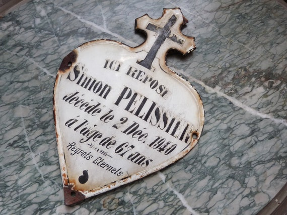 Antique French mourning grave yard marker enamel cemetery tomb memento plaque, enameled heart w cross, RARE, 1900s cemetary tombstone spooky