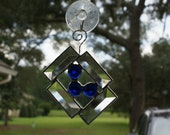 Abstract Mini Bevels with Cobalt Blue Crystal Gems Suncatcher - Silver Finish