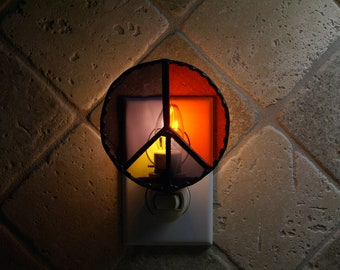 Stained Glass Peace Symbol Night Light - Handcrafted Authentic Stained Glass - Black Patina Finish